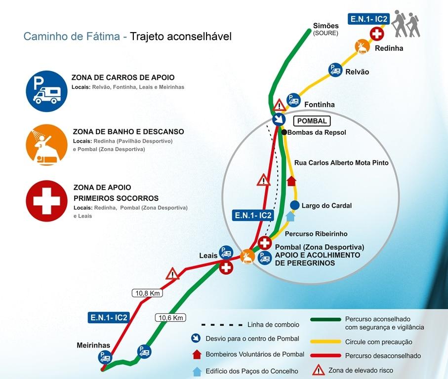 caminho de fatima mapa Portal do Município de Pombal | Caminho de Fátima – Trajeto  caminho de fatima mapa