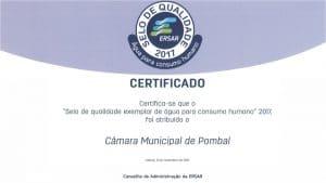 Certificado Selo de Qualidade de Água